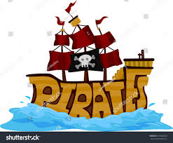 text illustration pirate ship on water stock vector 125468420
