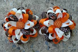 thanksgiving hair bows fall hair bows thanksgiving hair bows pumkin by myluckyhairbow