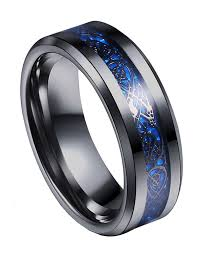 men rings jewelry images Tanyoyo 8mm blue black dragon pattern beveled edges celtic rings jpg