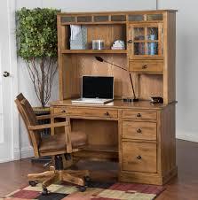 Computer Desks With Storage Designs Sedona Rustic Oak Computer Desk And Hutch Walker S