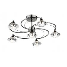 Chrome Ceiling Lights Uk Lut0667 Luther Ceiling Light Dar 6 Light Black Chrome