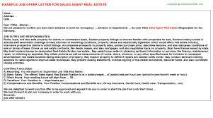 sales agent real estate offer letter