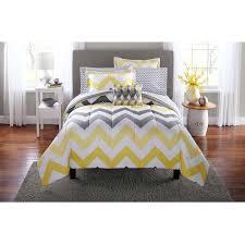 Kohls Comforters Mainstays Yellow Grey Chevron Bed In A Bag Bedding Comforter Set