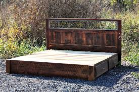 buy custom rustic platform storage bed in solid reclaimed oak and