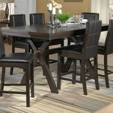 Black Upholstery Leather Casual Outdoor Dinette Design With Espresso Pub Style Dining