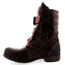 ladies brown leather biker boots womens fly london stif leather pull on military biker buckle ankle