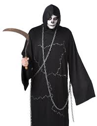Grim Reaper Costume Chained Reaper Costume With Barbed Wire Print Vegaoo