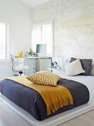 cool and elegant grey and yellow bedroom for sweet home