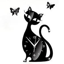 Cheap Cute Home Decor Cute Cat Butterfly Mirror Black Wall Clock Modern Design Home