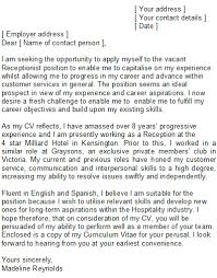 gallery of receptionist cover letter template resume cv cover