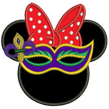 mardi mask like minnie wearing mardi gras mask applique machine embroidery