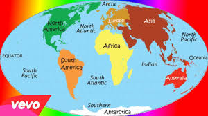 Seven Continents Map 7 Continents And 5 Oceans Rap Youtube