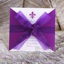 Purple Wedding Invitations Korea Purple Wedding Invitations With Muslin Bow Purple Theme