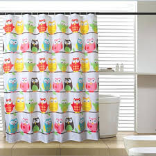 Owl Shower Curtains Blue Striped Funky Privacy Shower Curtains