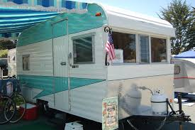 fireball vintage trailer blue and white striped side awning