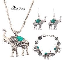 fashion bracelet sets images Fashion red green black stone jewelry sets vintage elephant design jpg