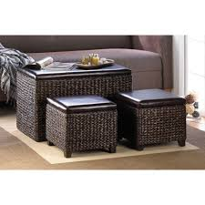 storage cocktail tables with storage footed rattan weaved