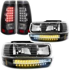 2001 silverado tail lights chevy silverado 2500hd 2001 2002 black headlights led drl and led