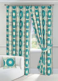 Teal Curtains Discus Teal Lined Curtains