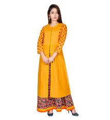 buy mustard yellow indo western kurta dress online for womens