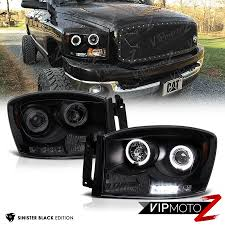 2006 dodge ram 2500 headlight bulb 2006 2008 dodge ram 1500 2500 3500 sinister black led halo