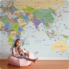 buy removable wall mural online world map design