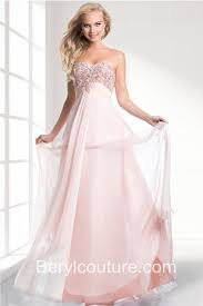 elegant strapless sweetheart empire waist light pink chiffon