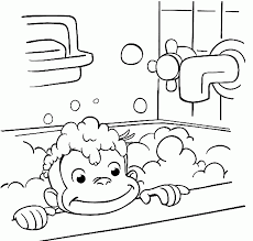 curious george take a bath in bathroom coloring pages cartoon