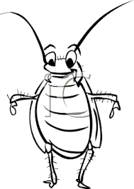 black white cartoon cockroach royalty free clipart picture