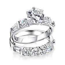 bridal ring set 925 silver baguette cz bridal engagement wedding ring set