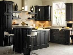 What Color To Paint Kitchen Cabinets With Black Appliances D Licieux Distressed Black Kitchen Cabinets Awesome 1092x660