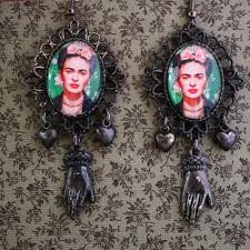 frida earrings pill jewelry frida portrait earrings in black