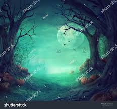 vintage moon pumpkin halloween background halloween background spooky forest dead trees stock photo