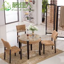 coffee table and stool set 2016 new modern design rattan water hyacinth wooden coffee shop