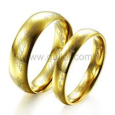 engraved rings gold images Custom engraved lord of the rings style couples rings bands set of jpg