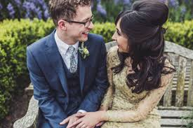 a gold gown and charlotte mills shoes for a feminist bride and her