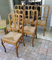 French Dining Chairs 6 Antique French Dining Chairs Carved Rush Seats Oak Cabriole