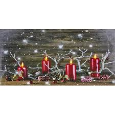 lighted canvas art with timer battery operated led lighted red candles canvas christmas wall art