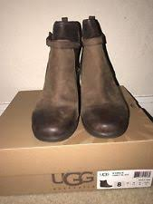 ugg australia womens emalie brown stout leather ankle boot 7 ebay ugg australia leather wedge boots for ebay