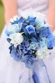 blue flowers for wedding 17pc silk wedding bridal bouquet flower set light blue white