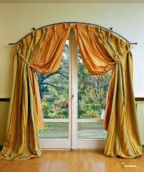 Sliding Drapes Decorations Yellow Green Fabric Drapes On The Curving Poles For