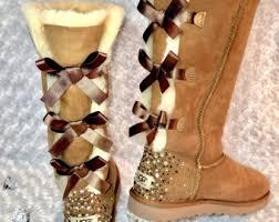 womens ugg bailey boots chestnut rhinestone uggs etsy