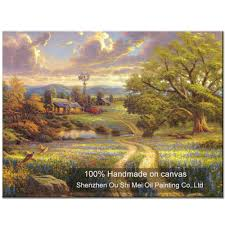 online get cheap thomas village aliexpress com alibaba group high quality hand painted thomas landscape oil painting on canvas beautiful village scene wall painting home decor paintings art