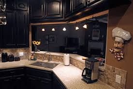 Under The Cabinet Lights by Kitchen Ideas With Dark Cabinets Large Green Open Shelves White