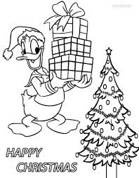 donald duck christmas cartoon coloring pages free print