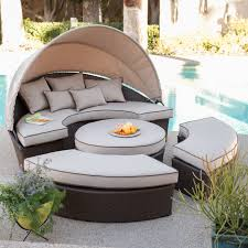 Outdoor Daybed With Canopy Furniture Brown Wicker Recractable Outdoor Daybed With