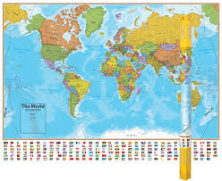 World Map With Ocean Labels by Hemispheres Blue Ocean Series Wall Maps Calloway House