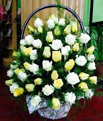 flower basket and yellow roses funeral flower basket