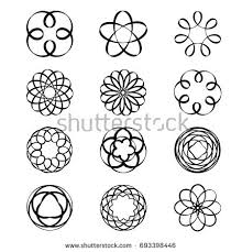 geometric circular ornament spirograph flower draw stock vector