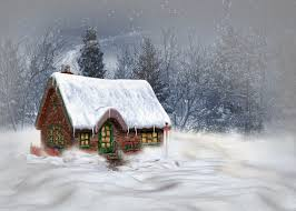 Winter House Art Oil Paintings Beauty Forest Winter Snow House Wallpaper